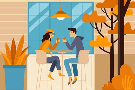 Illustration pour Vector illustration in flat simple style -  autumn illustration - happy couple drinking coffee - cartoon characters in coffee house - image libre de droit