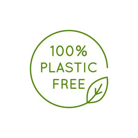 Ilustración de Vector icon and design template in simple linear style - 100 % plastic free emblem for packaging eco-friendly and organic products - Imagen libre de derechos