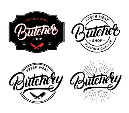 Ilustración de Set of Butcher Shop and Butchery hand written lettering logo, label, badge, emblem. Template for shop, cover, sticker, print, business works. Vintage retro style. Vector illustration - Imagen libre de derechos