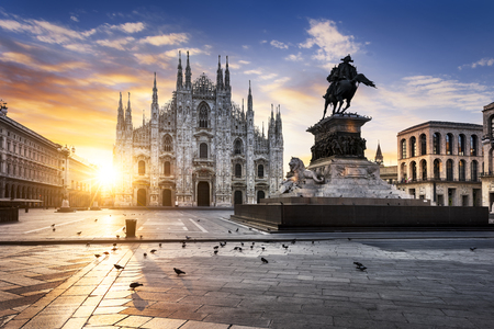 Photo for Duomo at sunrise, Milan, Europe. - Royalty Free Image