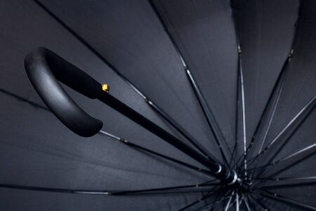 Foto de Big black umbrella bottom view close up, with copy space - Imagen libre de derechos