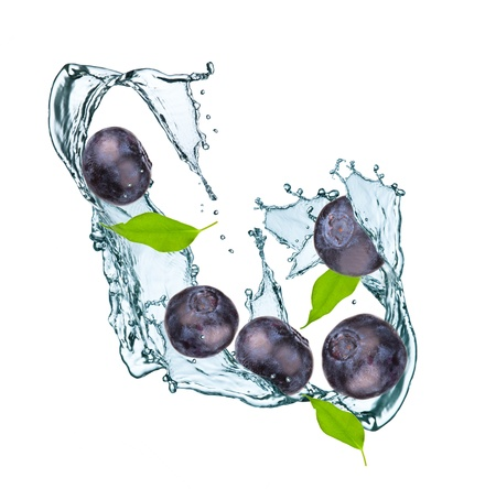 Photo for Water splash with blueberry and leaf - Royalty Free Image