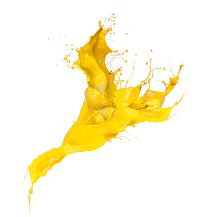Foto de Shot of yellow paint splash isolated on white background - Imagen libre de derechos