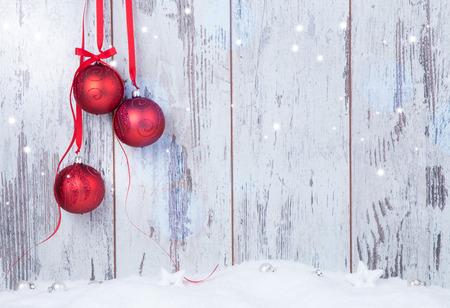 Foto per Christmas decoration Holiday background with wood - Immagine Royalty Free