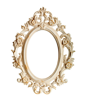 Foto de Oval ornate vintage frame isolated over white background - Imagen libre de derechos