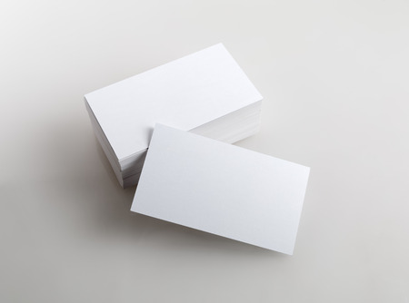 Foto de Photo of business cards. Template for branding identity.  Isolated with clipping path. - Imagen libre de derechos