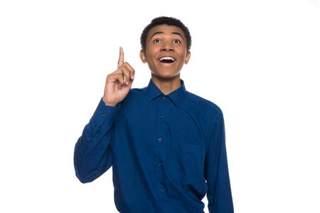 Foto für African American teenager has idea, raise index finger up. Isolated on white background. Studio portrait. - Lizenzfreies Bild