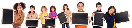 Photo for little kids holding a black board - Royalty Free Image