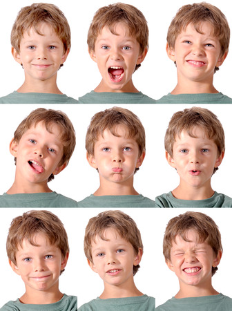 Photo pour little boy doing facial expressions - image libre de droit