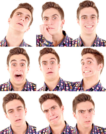 Photo pour teenage boy doing facial expressions isolated in white - image libre de droit