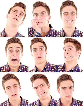 Foto de teenage boy doing facial expressions isolated in white - Imagen libre de derechos