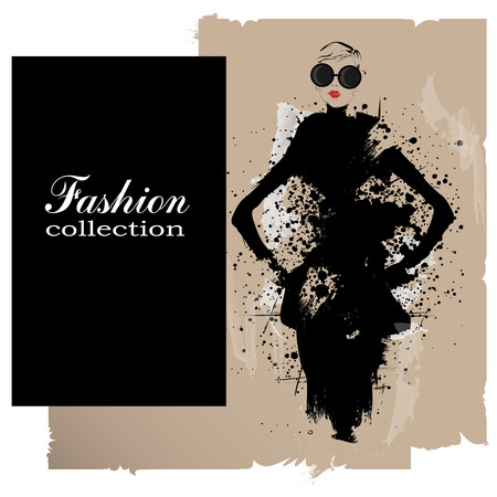 Ilustración de Fashion girl in sketch-style. Vector illustration. - Imagen libre de derechos