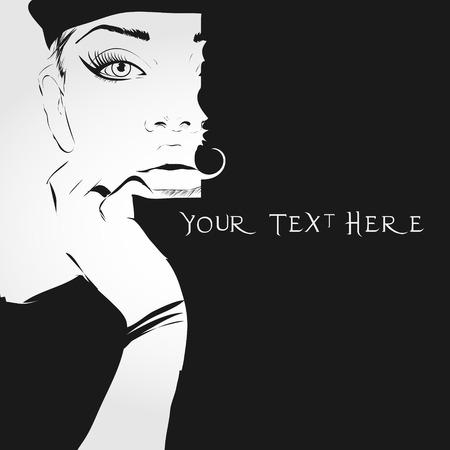 Ilustración de Fashion girl in sketch-style.  Black background. - Imagen libre de derechos
