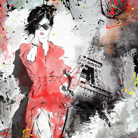 Photo pour Fashion girl in sketch-style. Grunge illustration. - image libre de droit