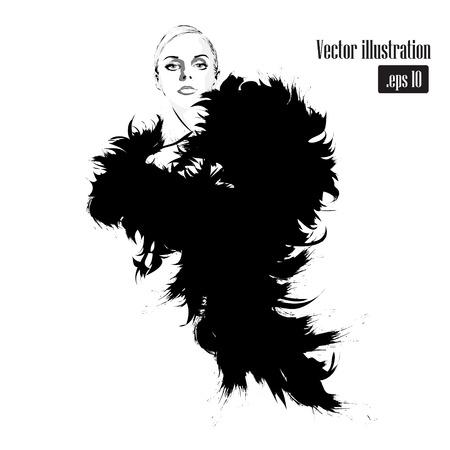 Ilustración de Fashion girl in sketch-style. Vector illustration. - Imagen libre de derechos