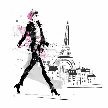 Foto per Fashion girl in sketch-style. Vector illustration. - Immagine Royalty Free