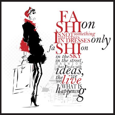 Ilustración de Fashion Illustration, woman with quote - Imagen libre de derechos