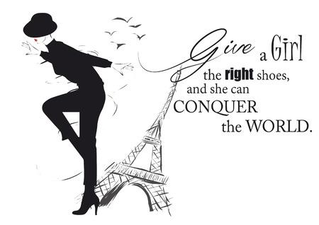 Ilustración de Fashion girl in sketch-style with fashionable quote. Vector illustration. - Imagen libre de derechos