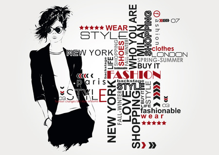 Photo pour Fashion girl in sketch-style.  - image libre de droit