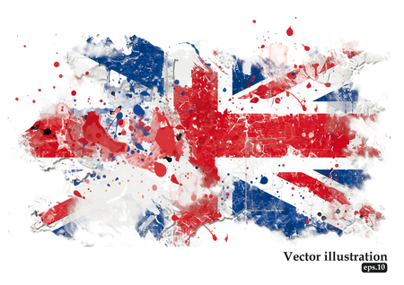 Illustration pour British flag on a white background. Grunge background. Vector illustration - image libre de droit