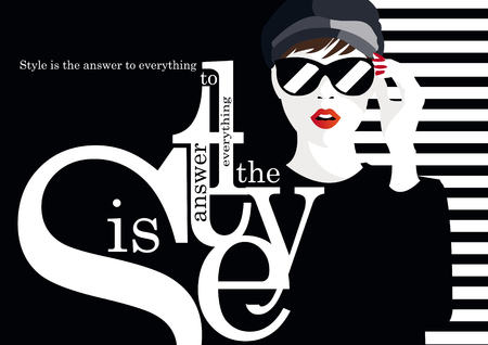 Ilustración de Fashion quote with fashion woman illustration - Imagen libre de derechos