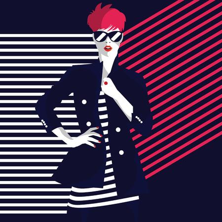 Illustration pour Fashion woman in style pop art. Vector illustration - image libre de droit