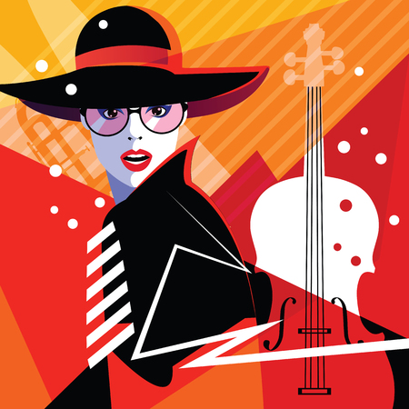 Illustration pour Fashion woman in style pop art on abstract musical background. Colourful jazz poster with contrabass and saxophone - image libre de droit
