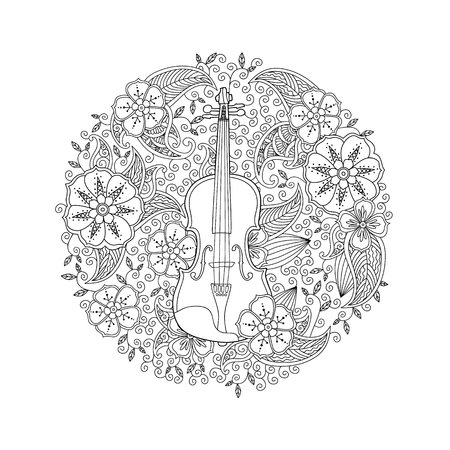 Illustration pour Coloring page with ornamental violin in circle shape on white background. Antistress coloring book for adult and children. Doodle, floral, nature style. Vector illustration. - image libre de droit
