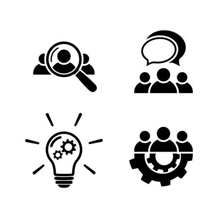 Illustration pour Teamwork icon set in flat style - image libre de droit