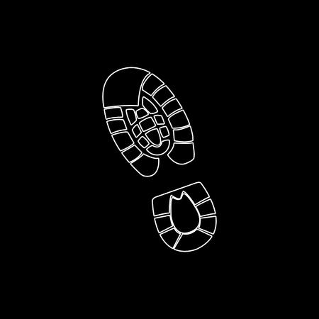 Ilustración de Shoe print  - white vector icon - Imagen libre de derechos
