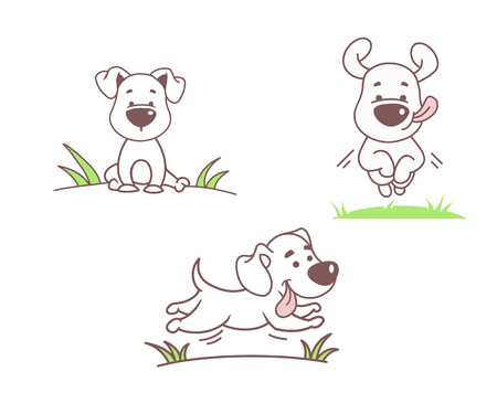 Illustrazione per Set of funny dogs, vector illustration - Immagini Royalty Free