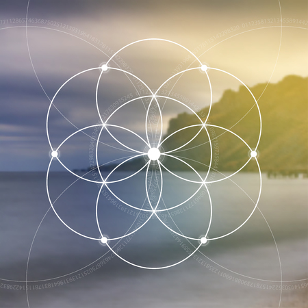 Illustration pour Flower of life - the interlocking circles ancient symbol. Sacred geometry. Mathematics, nature, and spirituality in nature. Fibonacci row. The formula of nature. Self-knowledge in meditation. - image libre de droit