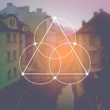 Illustration pour Flower of life - the interlocking circles ancient symbol in front of blurred photorealistic nature background. Sacred geometry - mathematics, nature, and spirituality in nature. The formula of nature. - image libre de droit