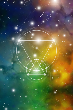 Illustration pour Sacred geometry art with golden ratio numbers, interlocking circles, triangles and squares, flows of energy and particles in front of outer space background. The formula of nature. - image libre de droit