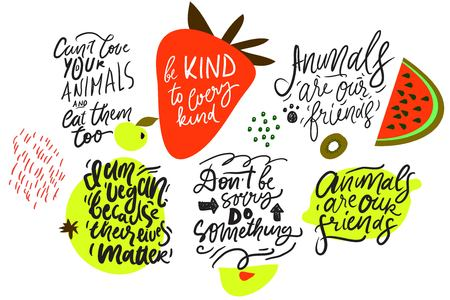 Ilustración de Be kind to every kind. Animals are our friends. Vegan quotes for your design. Hand lettering illustration set. - Imagen libre de derechos