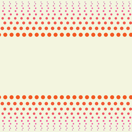 Illustration pour Seamless dots pattern, a border of orange peas gradually rolling in pink and shrink in size on a light background - image libre de droit