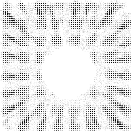 Ilustración de Black and white optical illusion burst background. Halftone effect. Abstract radial, convergent lines. Explosion, radiation, zoom, visual effect. Sun or star rays for Comic Books in pop art style. - Imagen libre de derechos