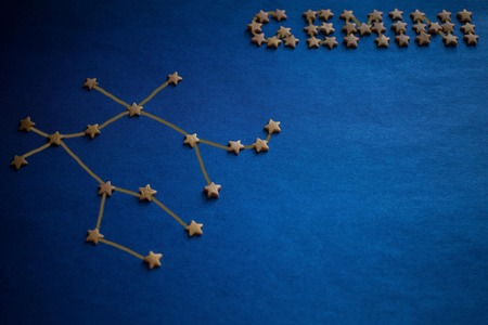 Foto de Gemini constellation on a blue background, scheme. Horoscope for born in June, the air element. Vignetting, drawing made by the author. - Imagen libre de derechos