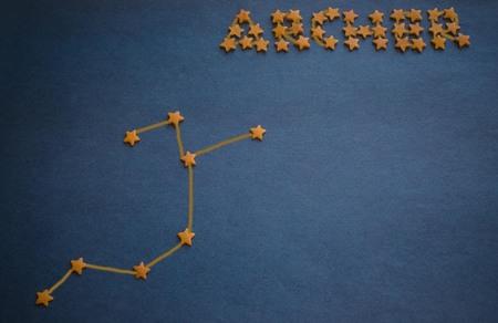 Foto de The schematic arrangement of stars in the constellation Archer. Prediction by stars, horoscope, astrology. Figure made by the author. - Imagen libre de derechos