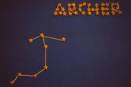 Foto de Horoscope for those born in December, astrological forecast, prediction. Archer constellation on purple background. Figure made by the author. - Imagen libre de derechos