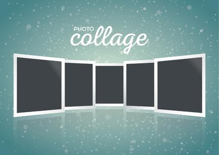 Ilustración de Winter Christmas photo collage with snowy background, template - Imagen libre de derechos