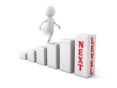 Photo pour 3d man climbs up to next level. success career concept. 3d render illustration - image libre de droit