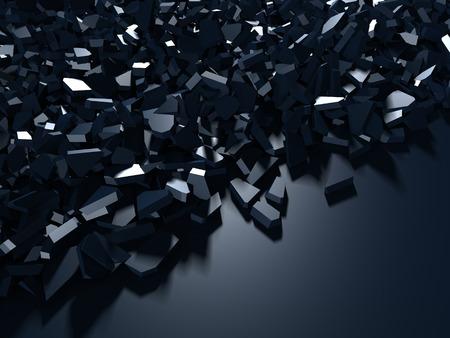 Photo pour Cracked blue shiny demolition broken surface background. 3d render illustration - image libre de droit