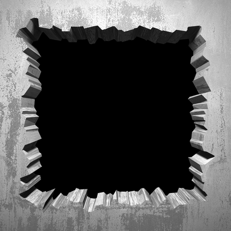 Foto de Dark cracked broken hole in concrete wall. Grunge background. 3d render illustration - Imagen libre de derechos