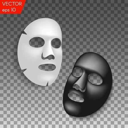 Illustration pour Realistic black and white facial cosmetic sheet mask on transparent background - image libre de droit