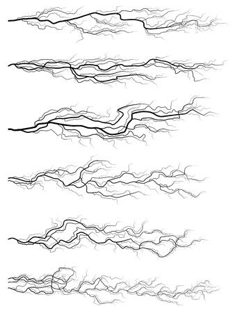 Set of vector silhouettes of thunderstorm horizontal lightning isolated on white