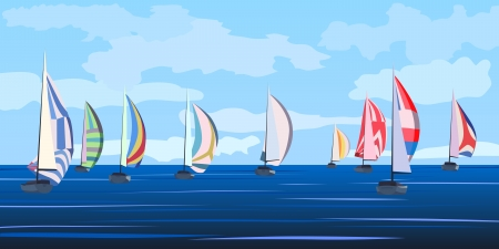 Illustration pour Vector illustration background of cartoon sailing regatta with many yachts on horizon in blue tone  - image libre de droit