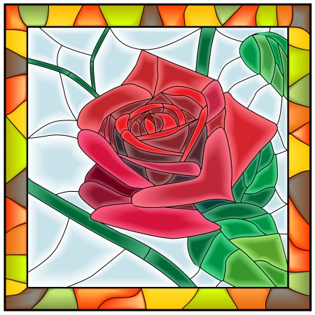Illustration for Vector illustration of flower red rose in stained-glass window with frame  - Royalty Free Image