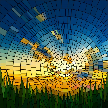 Illustration for Vector illustration of sunset in blue sky in grass stained glass window  - Royalty Free Image