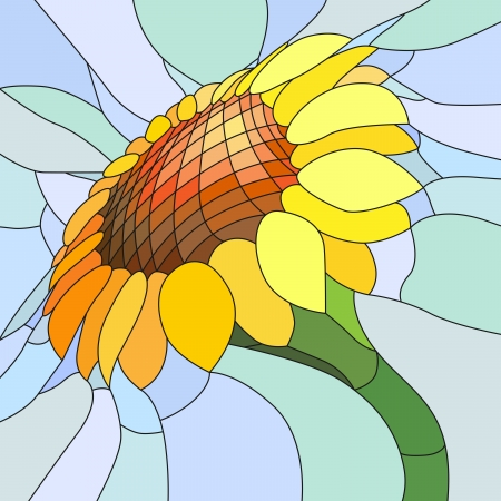 Illustration for Vector mosaic with large cells of yellow sunflower on light blue. - Royalty Free Image